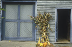 Autumn Display Leaning en el edificio, Waterloo, New Jersey Fotografía de archivo