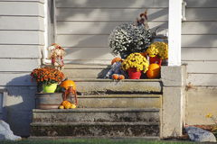 Autumn Display op Front Steps Stock Afbeelding
