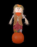 Autumn Doll and Pumpkin Stock Images