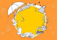 Autumn Doodle Illustration of autumn elements. Autumn walk in the rain. Autumn Doodle Illustration. Walk under the rain. Pattern, background, line drawing vector illustration