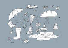 Autumn Doodle Illustration von Herbstelementen Herbstweg im Regen stock abbildung