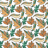 Autumn doodle leaves pattern. Vector seamless Stock Photos