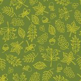 Autumn doodle leaves seamless vector background. Lime green leaves on a green background. Acorns, oak tree, maple tree pattern. Autumn doodle leaves seamless vector illustration