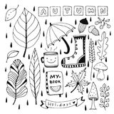 Autumn doodle set for seasonal decorations. Isolated elements for coloring book or stickers. Stock Photo