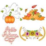 Autumn Doodle Vector Set royalty-vrije illustratie