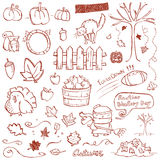 Autumn Doodles. Autumn elements drawn in a doodled style Royalty Free Stock Photography