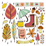 Autumn doodles. Isolated elements for stickers or patches. Stationery design vector illustration. stock illustration