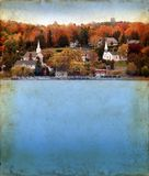 Autumn in Door County on Grunge Background Royalty Free Stock Photos