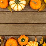 Autumn double border against rustic wood Stock Photography