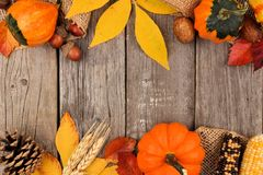 Autumn double border over rustic wood. Autumn double border of colorful leaves and pumpkins over a rustic wood background Royalty Free Stock Photos