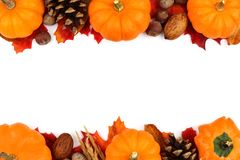 Autumn double border of pumpkins, leaves and nuts over white Royalty Free Stock Photography