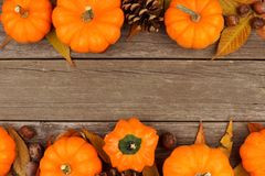 Autumn double border with rustic old wood background Royalty Free Stock Photography