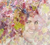 Autumn double exposure portrait of young woman Royalty Free Stock Photo