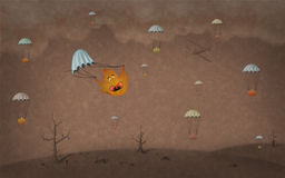 Autumn dramatic wallpaper. Computer generated wallpaper with leafs parachuting royalty free illustration