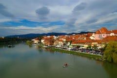 Autumn On Drava River, Maribor, Slovenia Stock Photo