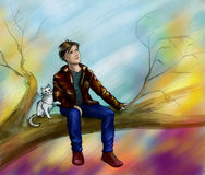 Autumn dreamers. Young man and his white cat sitting on the tree and looking to the sky. Pencil drawing, colored Stock Photo