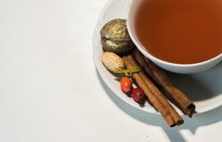 Autumn drink with fruits book and calm mood stock image