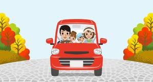 Autumn Driving Family vector illustratie