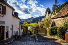Autumn Durnstein. Beautiful autumn cityscape of Durnstein, Austria stock image