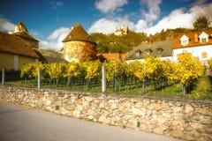 Autumn Durnstein. Beautiful autumn landscape of Durnstein, Austria stock image