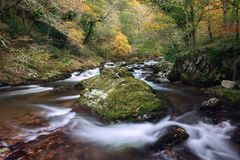 Autumn on the east lynn river somerset uk. Autumn colours along the east lynn river near watersmeet exmoor uk Royalty Free Stock Photos