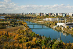 Autumn edmonton. Autumn view of the north saskatchewan river valley and downtown in city edmonton, alberta, canada stock photography