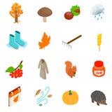 Autumn elements icons set, isometric 3d style Royalty Free Stock Photography