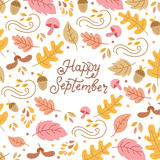 Autumn elements and lettering. Vector autumn greeting card with autumn leaves and lettering isolated on white background. Perfect for autumn holidays Stock Photos