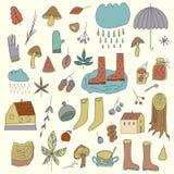 Autumn Elements Set avec le parapluie, les champignons, les glands, les feuilles et autre Illustration de Vecteur