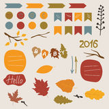 Autumn elements. Autumn set of stickers for design website, blog, magazine on light background. collection for scrapbook Royalty Free Stock Photos