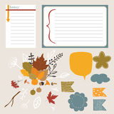 Autumn elements. Autumn set of stickers for design website, blog, magazine on light background. collection for scrapbook Stock Photo