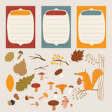 Autumn elements. Autumn set of stickers for design website, blog, magazine on light background. collection for scrapbook Stock Images