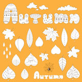 Autumn elements set. Vector set of doodle autumn nature hand drawn elements: leaves, rain drops, spiderweb, clouds, lettering. For greeting cards, wallpapers Vector Illustration