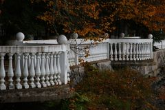 Autumn embankment of a distant country royalty free stock images