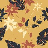 Autumn endless pattern with decorative flowers and leavesм. Autumn endless pattern with decorative flowers and leaves. Template can be used for surface textures Stock Image