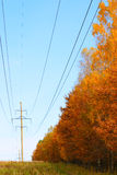 Autumn energy. The electric columns which have been removed in autumn day Stock Photo