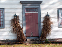 Autumn Entrance. Autumn decorations outside a colonial-style home Stock Photography