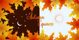 Free Autumn Equinox Vector Illustration. September 22. Concept Design With Maple Leafs In Darker And Lighter Color Royalty Free Stock Photo - 196533055