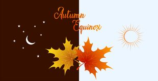 Free Autumn Equinox Vector Illustration. September 22. Concept Design With Maple Leafs In Darker And Lighter Color Stock Photo - 196533060