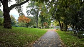 Autumn in Essen, Germany. Park alley in the city park in Essen, Germany.Review and dreaming season royalty free stock photography