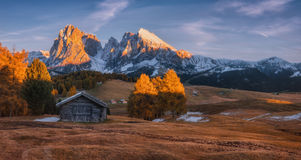 Autumn Evening auf der Hochebene von Alpe di Siusi Stockfotografie