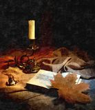 Autumn evening by candlelight. Nostalgia. Rustic still-life. Painting wet watercolor on paper. Naive art. Abstract art. D. Rawing watercolor on paper royalty free illustration