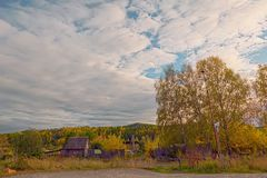 Autumn evening by the forest edge Royalty Free Stock Image