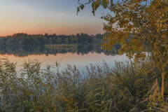 Autumn Evening on the lake Stock Photography