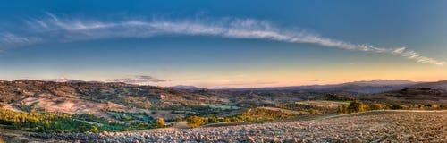 Autumn evening landscape panorama stock photo