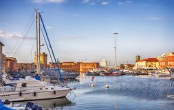 Marine harbor in Italian old town Livorno Stock Photography