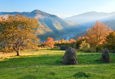 Autumn evening mountain hill Royalty Free Stock Photography