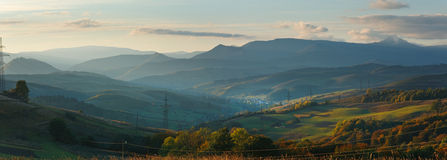 Autumn evening mountain panorama (Carpathian) Stock Photos