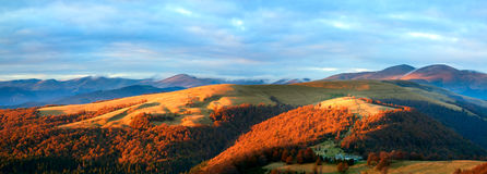 Autumn evening mountain plateau landscape Stock Image