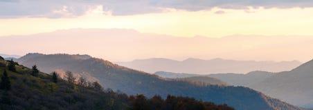 Autumn evening mountain plateau panorama. Stock Photo